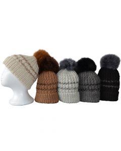 Alpaka Mütze mit Fellbommel