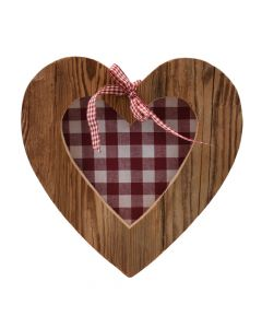 Altholz Herz mit Stoffeinsatz 20cm