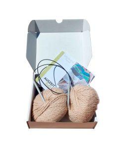 Auszeitbox Stirnband stricken DIY beige