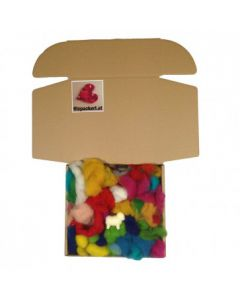 Filzwolle im bunten Kisterl zum Nassfilzen