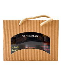 Geschenkbox Für Fleischtiger Scharfe Fruchtaufstriche 2x155g und Chili Sauce 155g