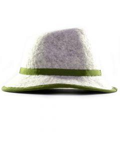 Handgefertigter Filzhut - hellgrau mit grüner Schleife