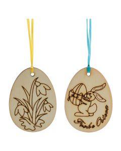 Handgefertigter Osterschmuck Schneeglöckerl und Hase aus Holz