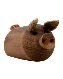 Handgefertigtes Nuss Schwein - Glücksbringer aus Holz
