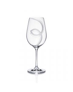 Handgraviertes Rotweinglas 450ml mit Violamotiv und Namensgravur