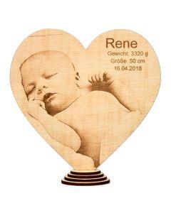 Herz aus Buchenholz mit Foto- und Textgravur 20cm x 20cm