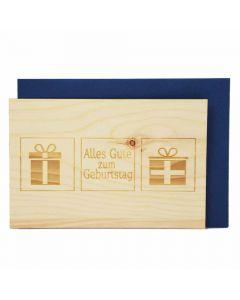 Holzgrußkarte zum Geburtstag 10x15cm