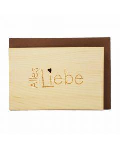 Holzgrußkarte Alles Liebe 10x15cm