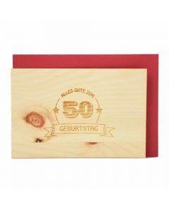 Holzgrußkarte zum runden Geburtstag 10x15cm