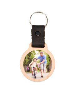 Holz Schlüsselanhänger 55mm x 50mm mit Lederband und persönlichem Fotodruck