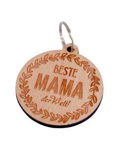 Holz Schlüsselanhänger 60mm x 55mm Beste Mama der Welt