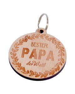 Holz Schlüsselanhänger 60mm x 55mm Bester Papa der Welt