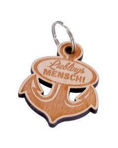 Holz Schlüsselanhänger 60mm x 55mm Lieblingsmensch