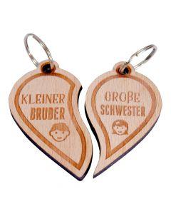 Holz Schlüsselanhänger Set 60mm x 55mm Großer Bruder kleine Schwester