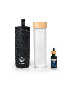 Purora HYDRATER - Thermo-Glasflasche 550ml mit Lodenhülle und Shield Kräuter-Drops 50ml