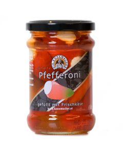 Scharfe Pfefferoni gefüllt mit Frischkäse 250g