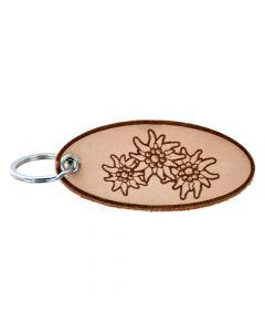 Schlüsselanhänger aus Leder - Edelweiß 3er