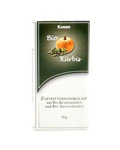 Zartbitterschokolade mit Bio Kürbiskernen und Bio Aroniabeeren 70g