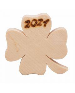 Kleeblatt Glücksbringer aus Zirbenholz 6cm x 5cm