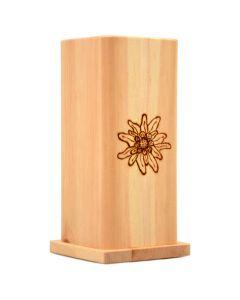 Zirbenholz Vase mit Edelweiß Brandmalerei und Glaseinsatz 19x8cm