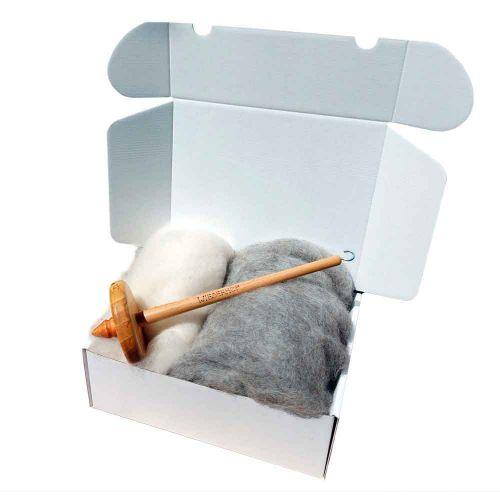 Auszeitbox Handspindel mit Faser DIY
