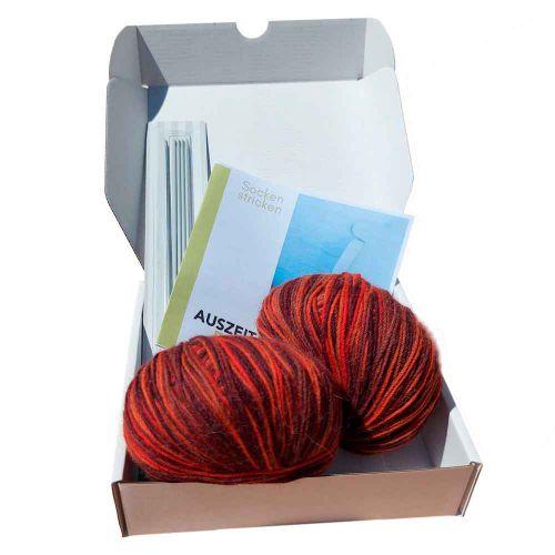 Auszeitbox Socken stricken DIY kupfer-orange