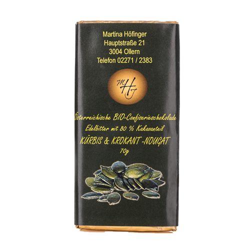 Schokolade Kürbis und Krokant Nougat 70g