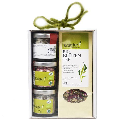 Bio Tee und Kräuterzucker Geschenkbox
